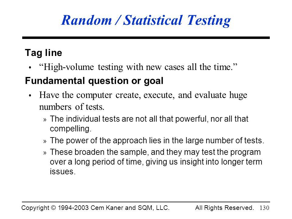 Random / Statistical Testing