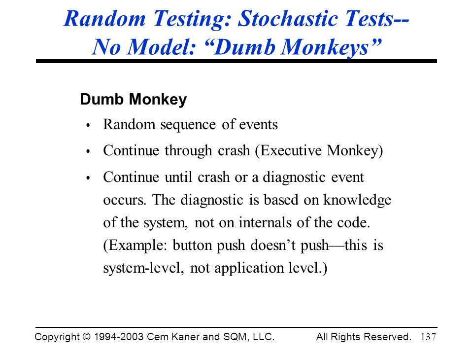 Random Testing: Stochastic Tests-- No Model: Dumb Monkeys