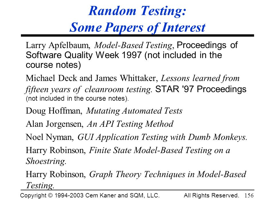 Random Testing: Some Papers of Interest