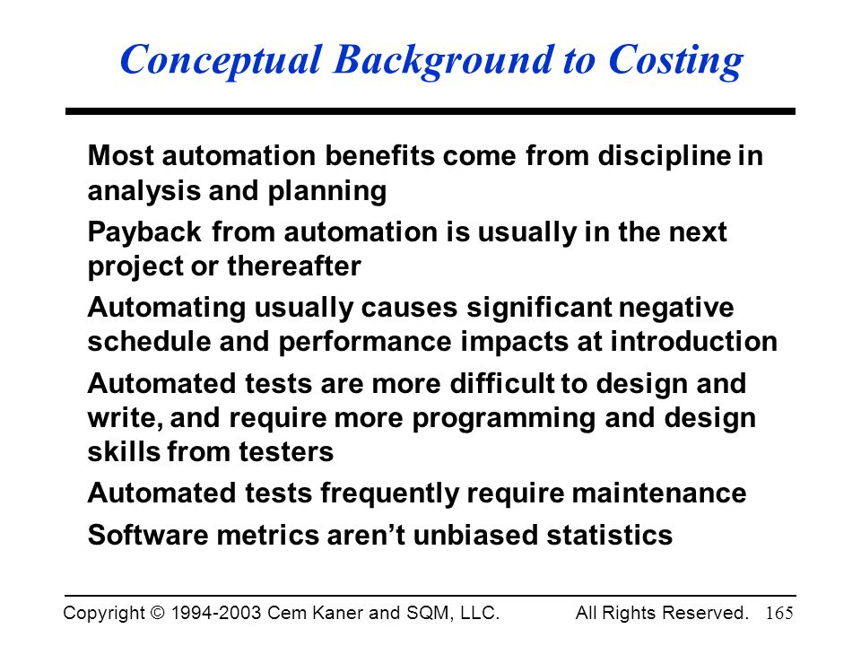 Conceptual Background to Costing