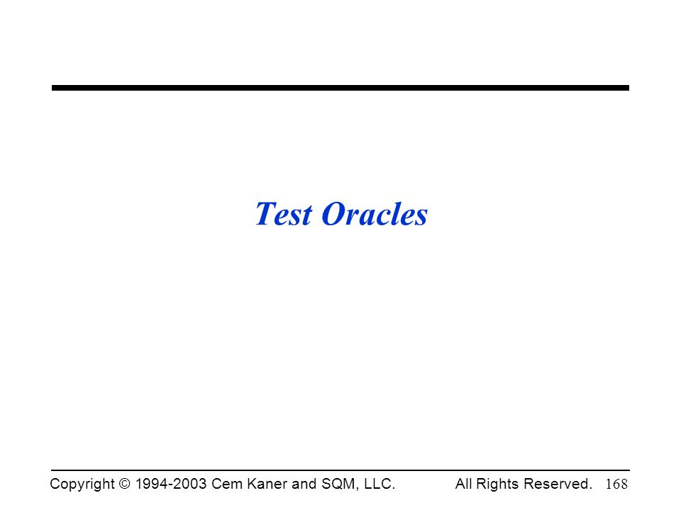 Test Oracles Fall 2002.