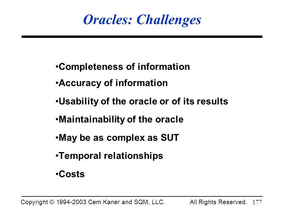 Oracles: Challenges Completeness of information