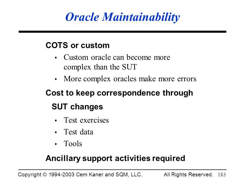 Oracle Maintainability