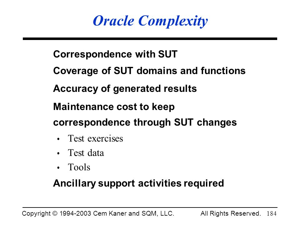 Oracle Complexity Correspondence with SUT