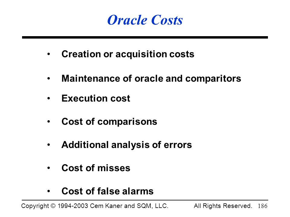 Oracle Costs Creation or acquisition costs