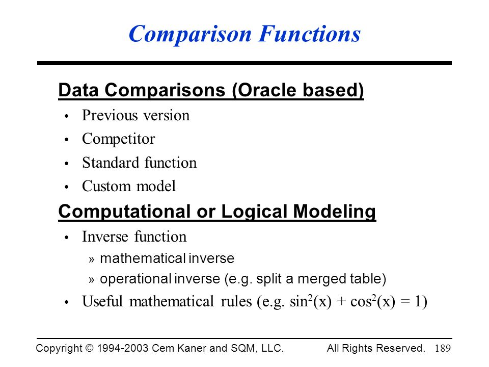 Comparison Functions Data Comparisons (Oracle based)