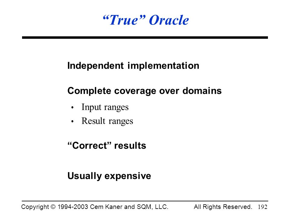 True Oracle Independent implementation