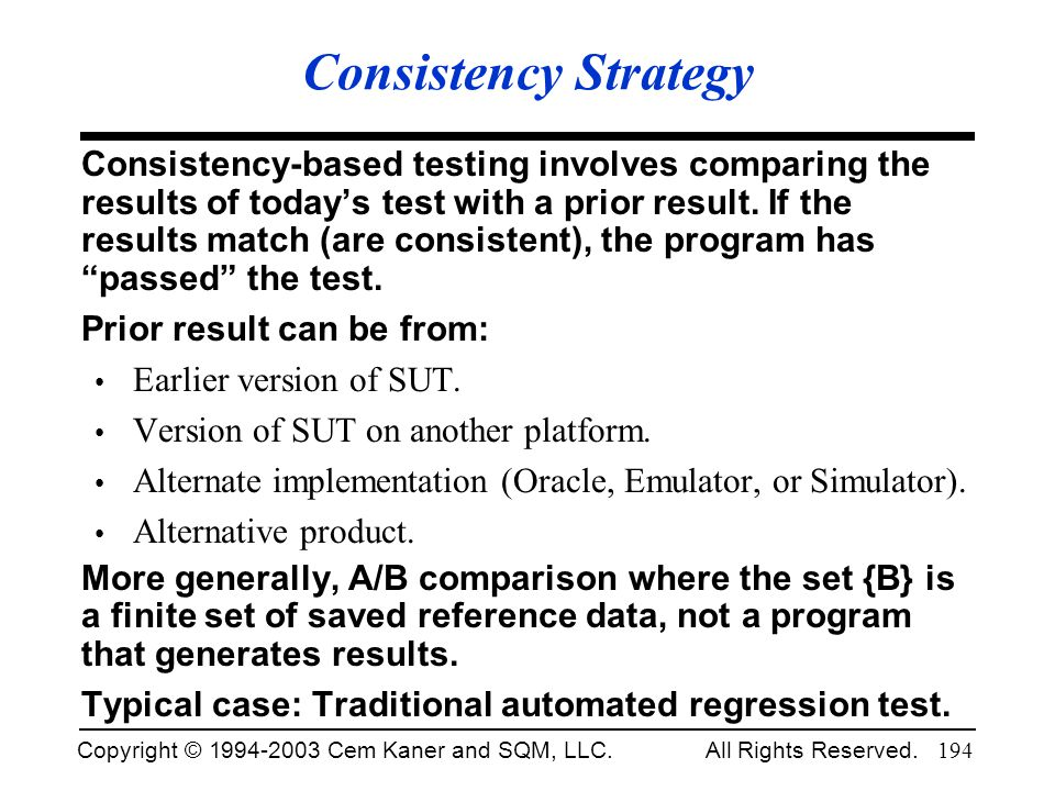 Consistency Strategy