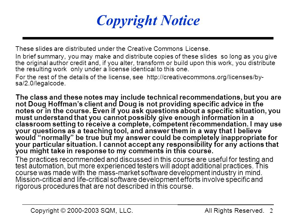 Copyright Notice These slides are distributed under the Creative Commons License.