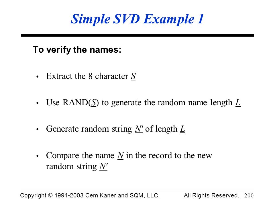 Simple SVD Example 1 To verify the names: Extract the 8 character S