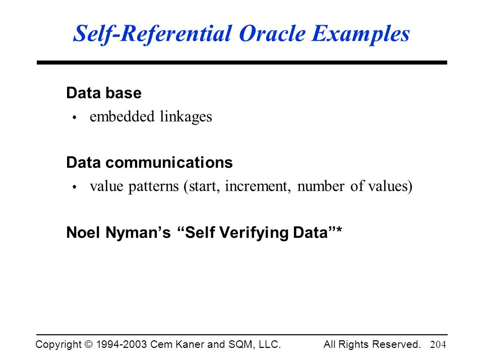 Self-Referential Oracle Examples