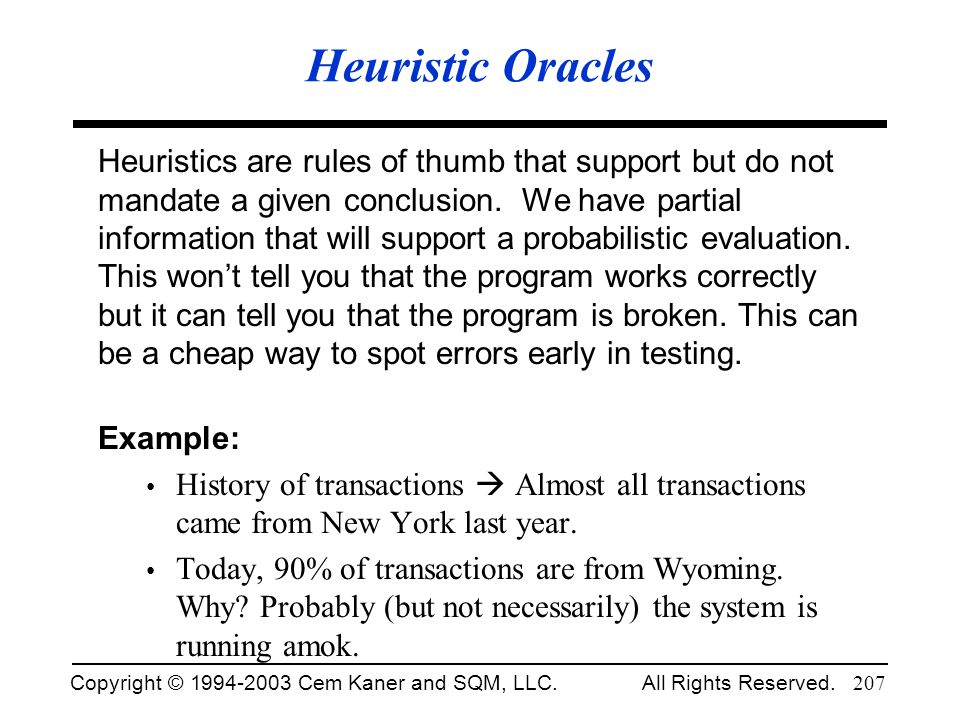 Heuristic Oracles