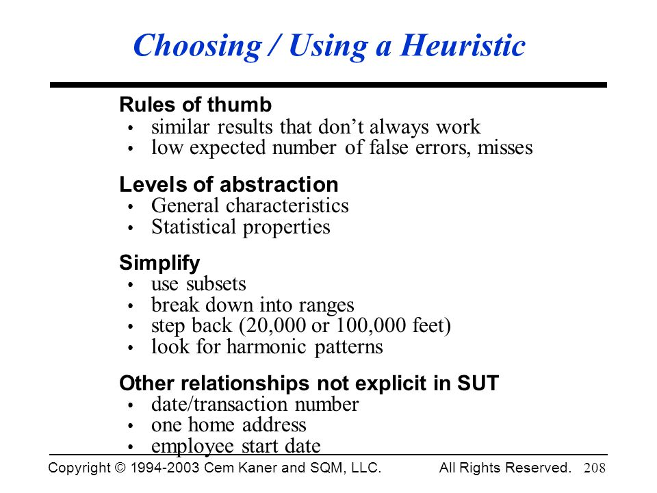 Choosing / Using a Heuristic