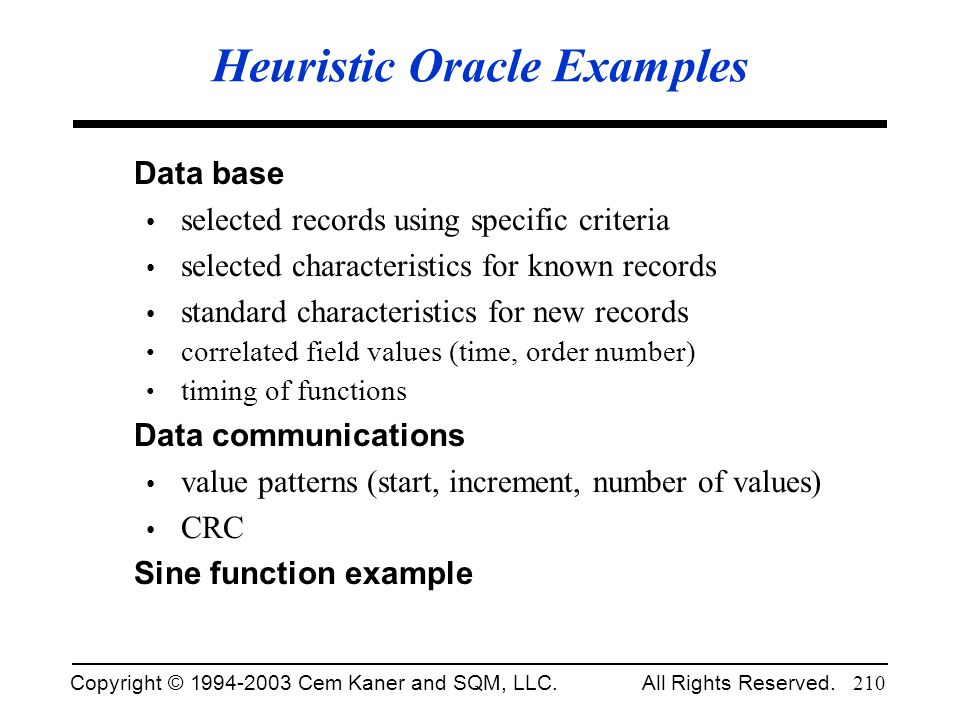 Heuristic Oracle Examples