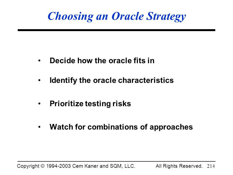 Choosing an Oracle Strategy