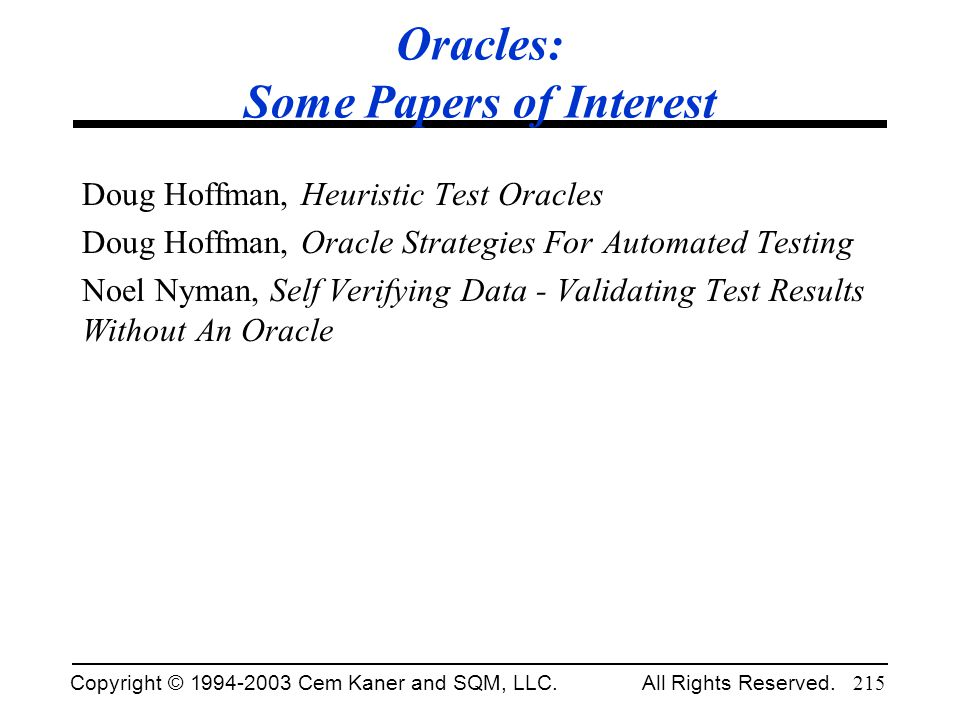 Oracles: Some Papers of Interest