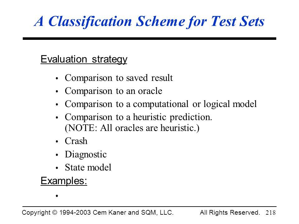 A Classification Scheme for Test Sets