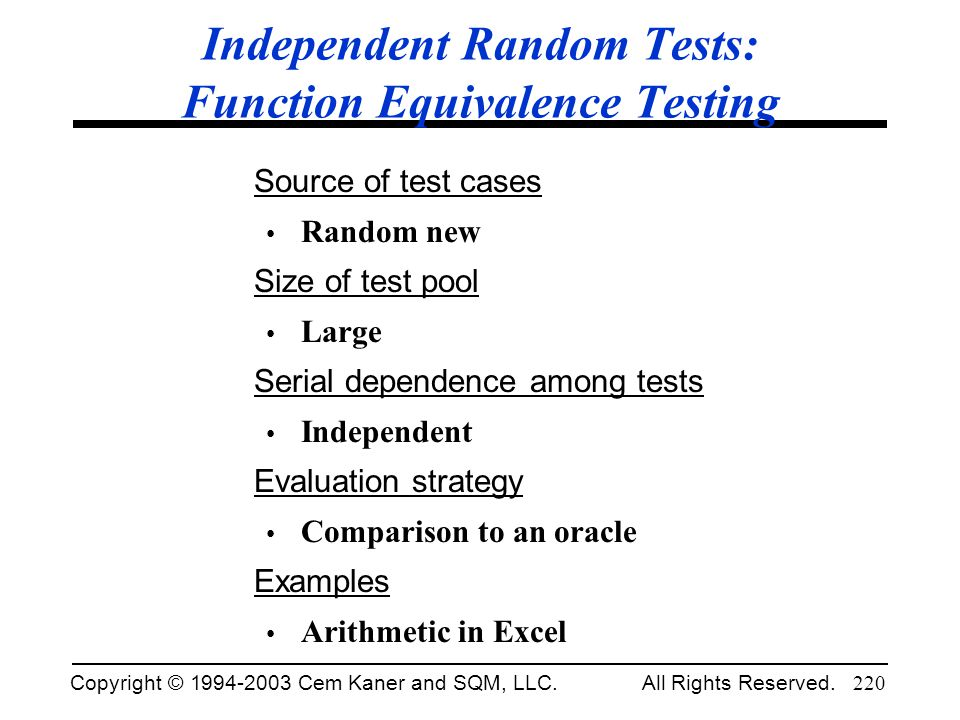 Independent Random Tests: Function Equivalence Testing
