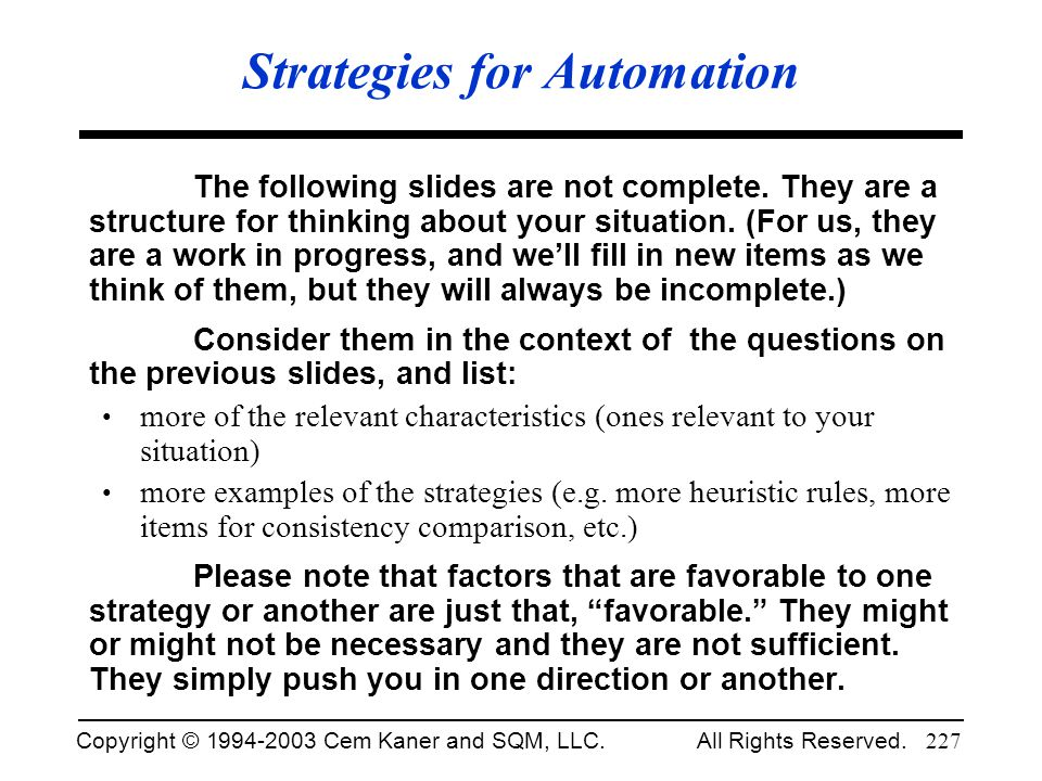 Strategies for Automation