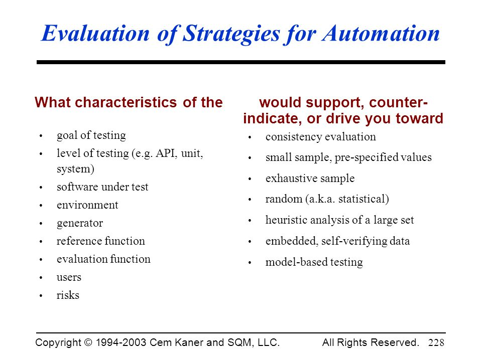Evaluation of Strategies for Automation