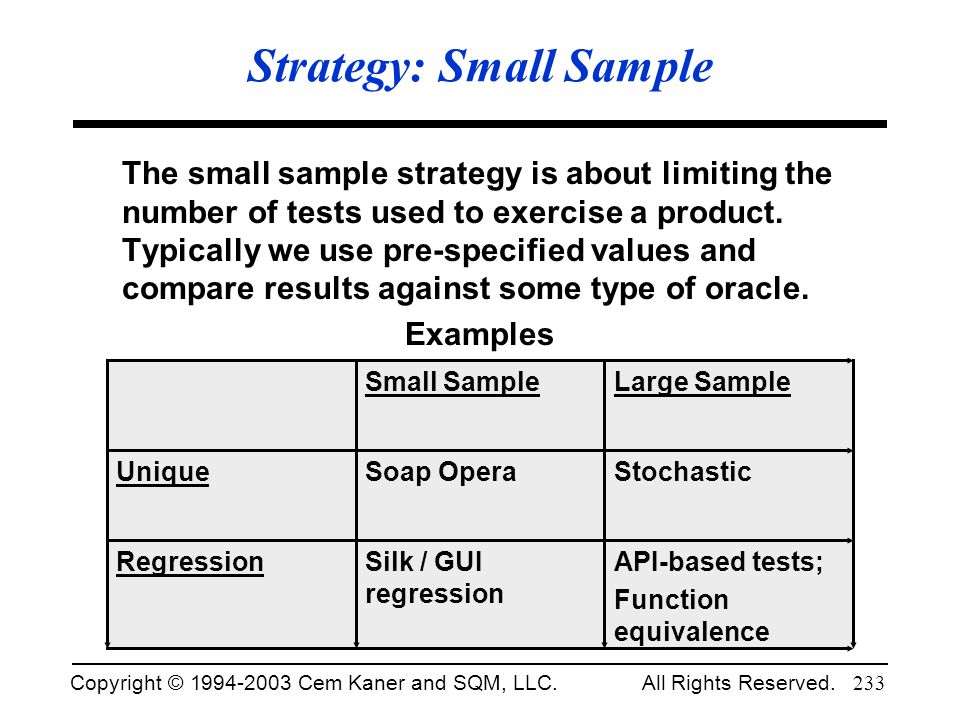Strategy: Small Sample