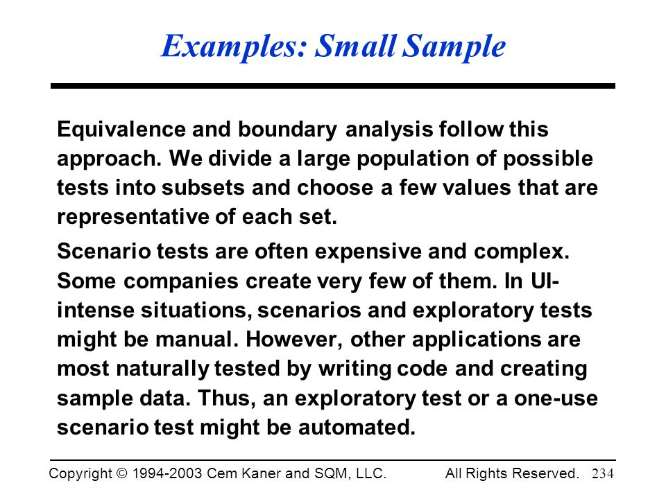 Examples: Small Sample