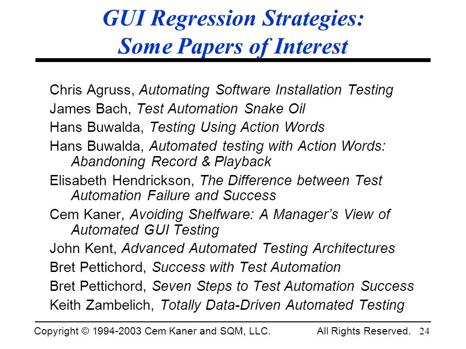 GUI Regression Strategies: Some Papers of Interest