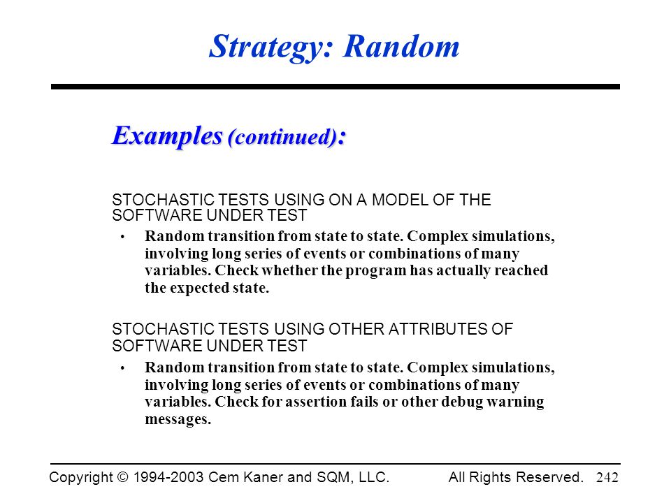 Strategy: Random Examples (continued):