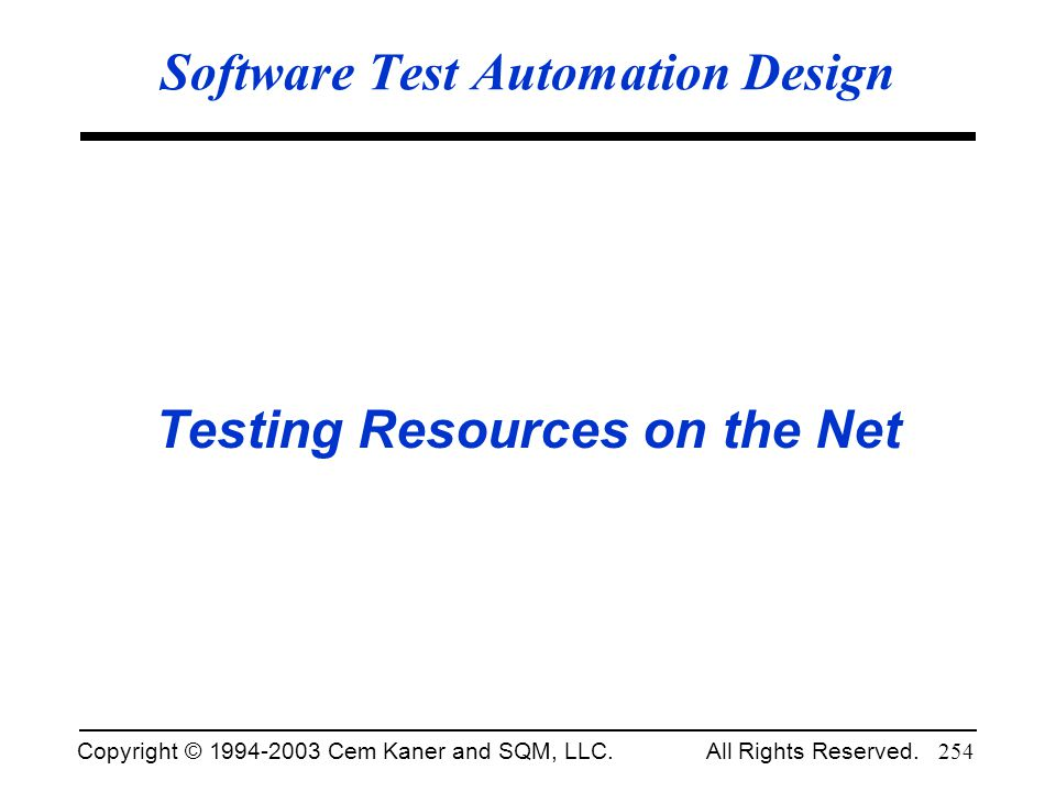 Software Test Automation Design