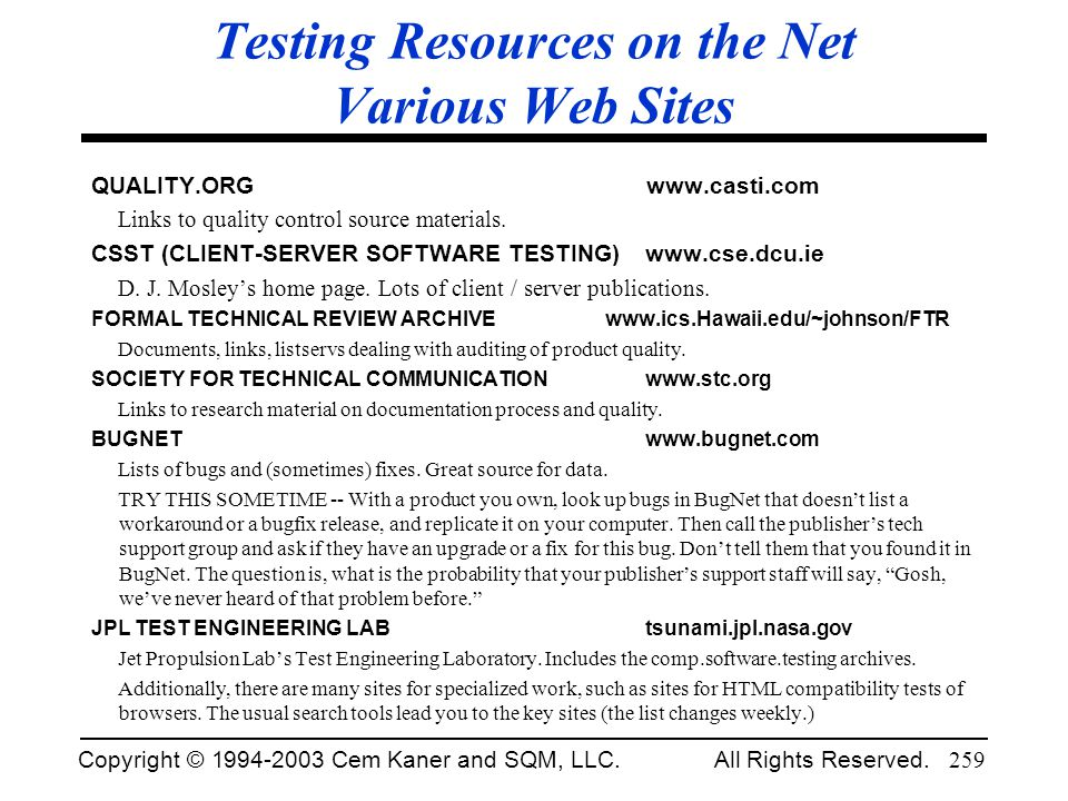 Testing Resources on the Net Various Web Sites