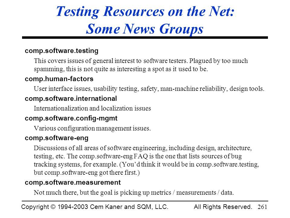Testing Resources on the Net: Some News Groups