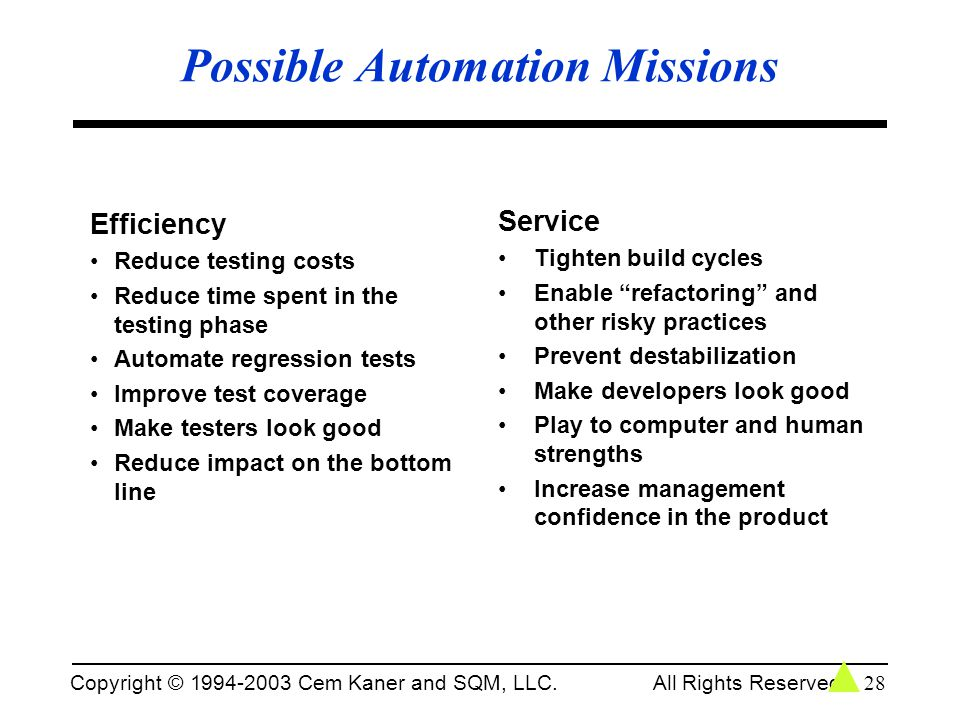 Possible Automation Missions