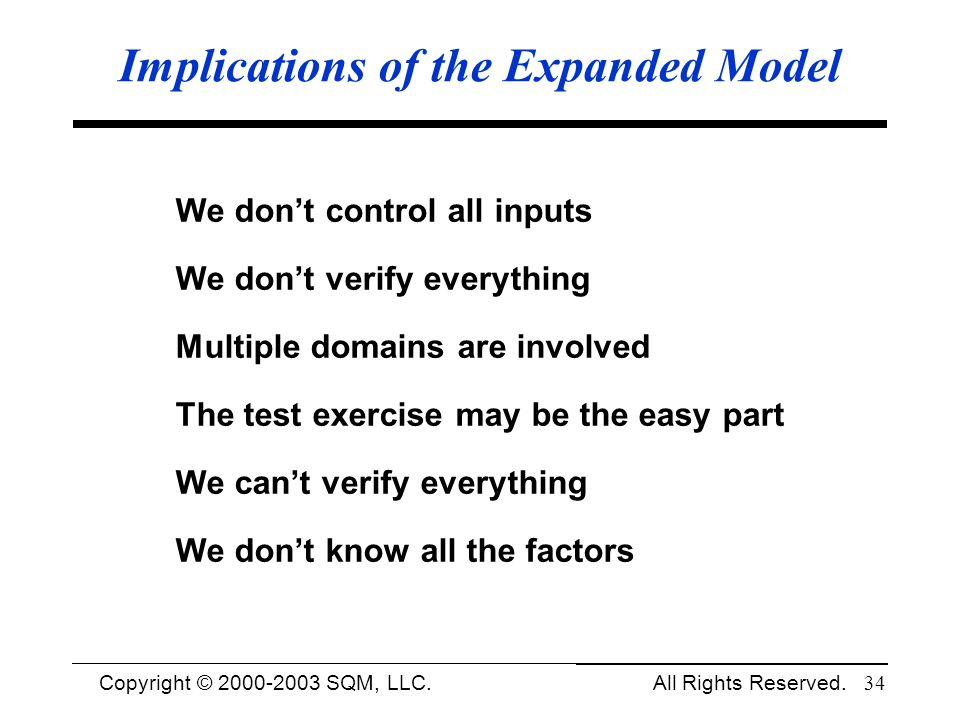 Implications of the Expanded Model