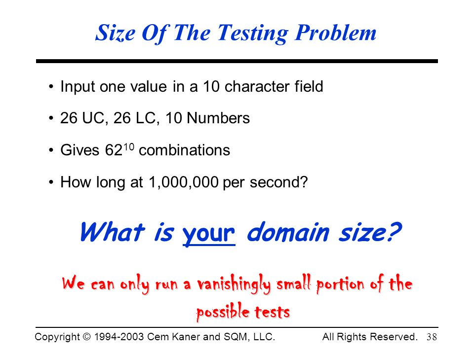 Size Of The Testing Problem