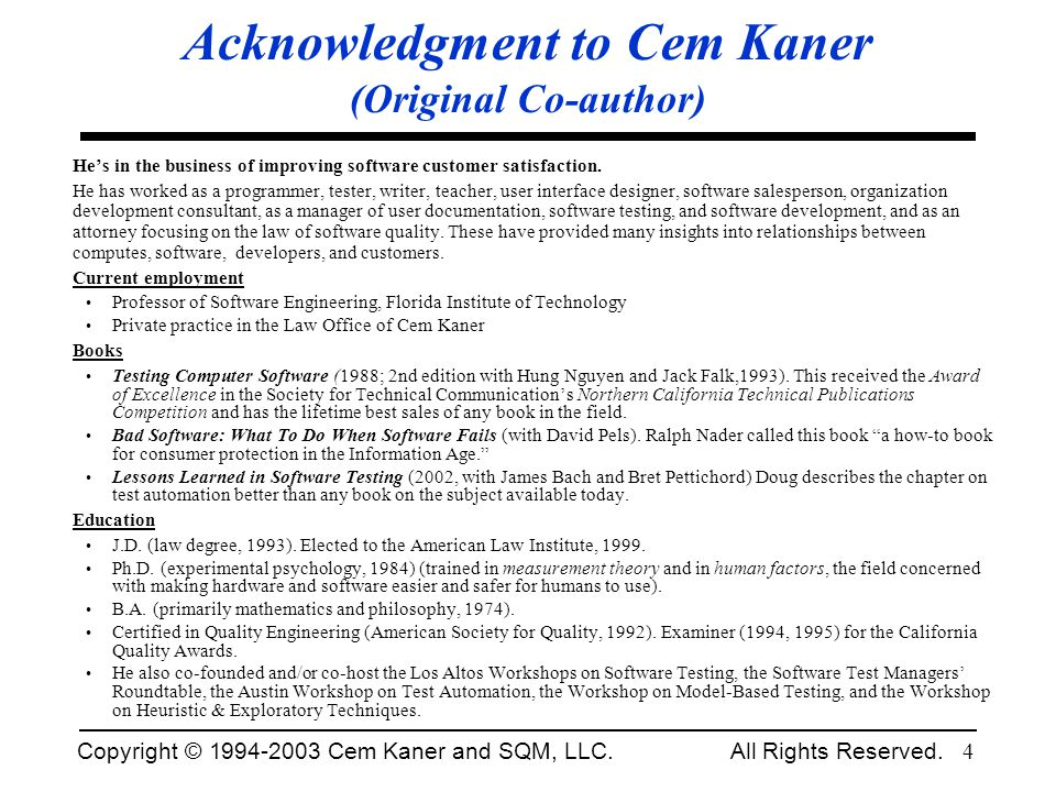 Acknowledgment to Cem Kaner (Original Co-author)