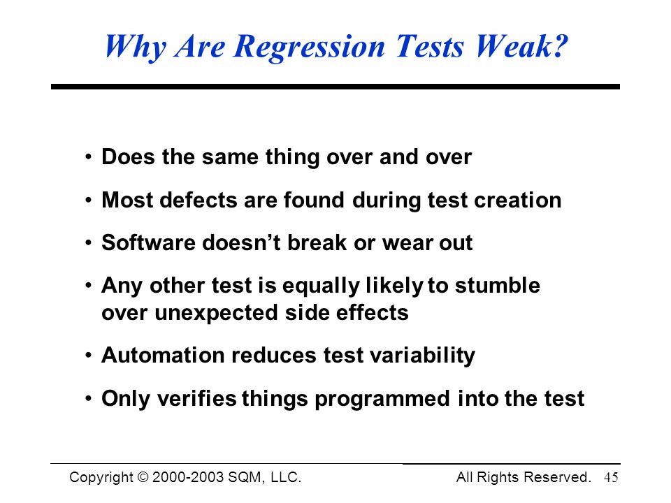 Why Are Regression Tests Weak