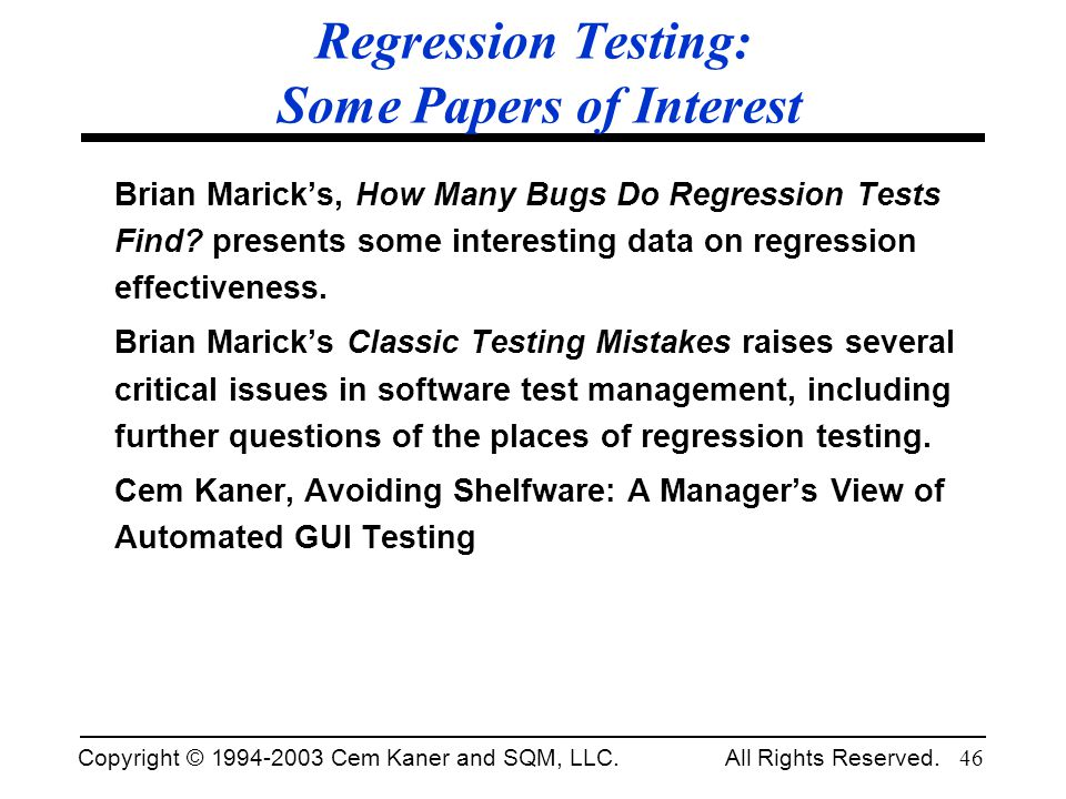 Regression Testing: Some Papers of Interest