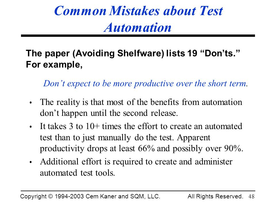 Common Mistakes about Test Automation