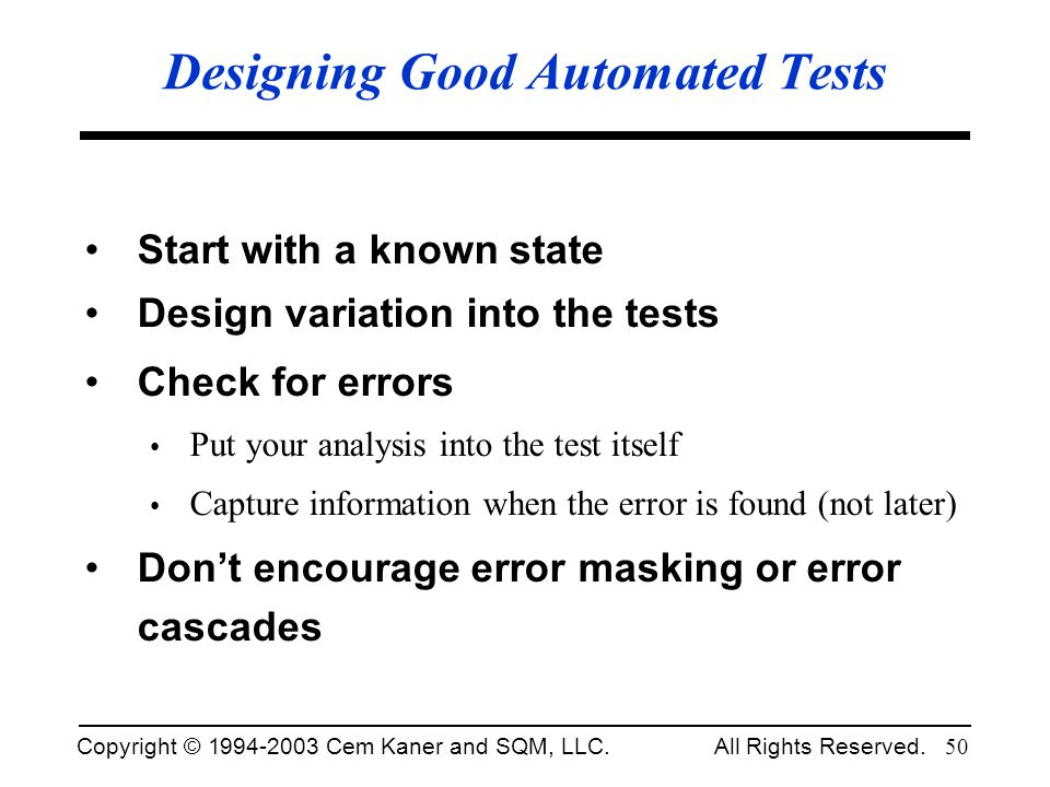 Designing Good Automated Tests