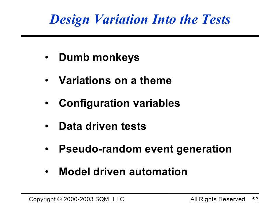 Design Variation Into the Tests