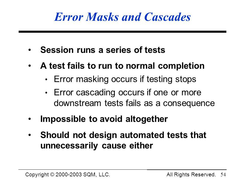 Error Masks and Cascades