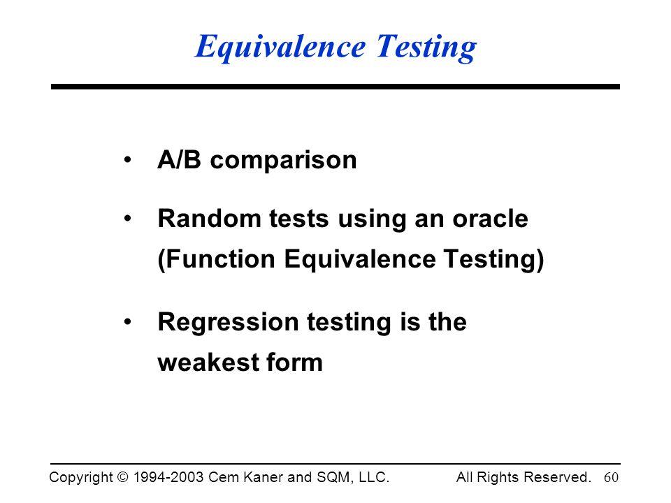 Equivalence Testing A/B comparison