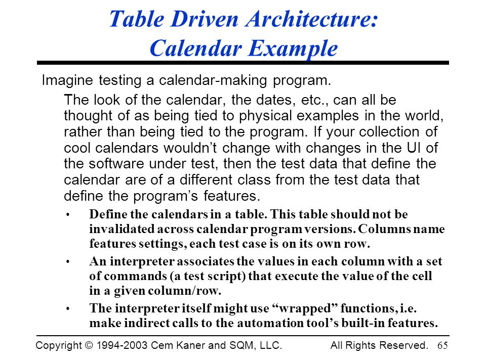 Table Driven Architecture: Calendar Example