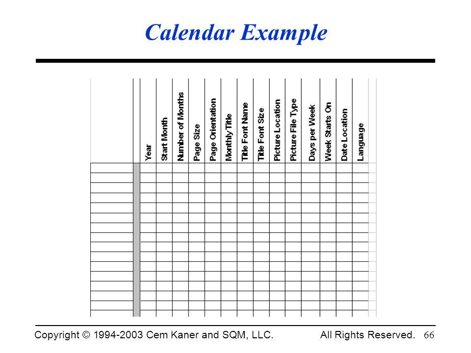 Calendar Example Fall 2002.