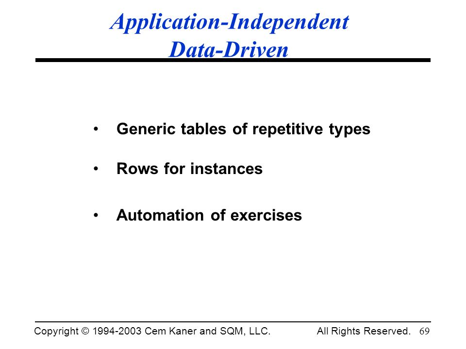 Application-Independent Data-Driven