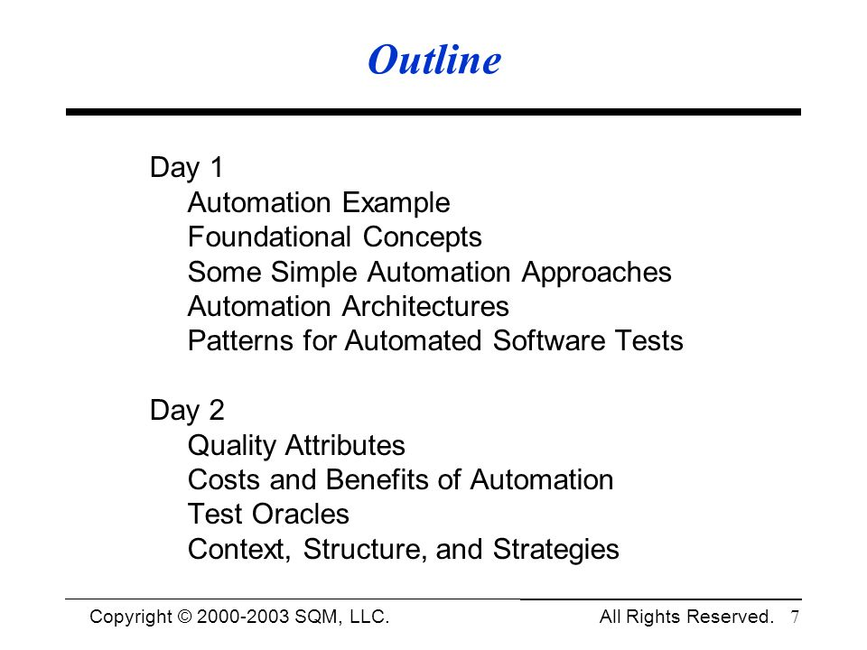 Outline Day 1 Automation Example Foundational Concepts