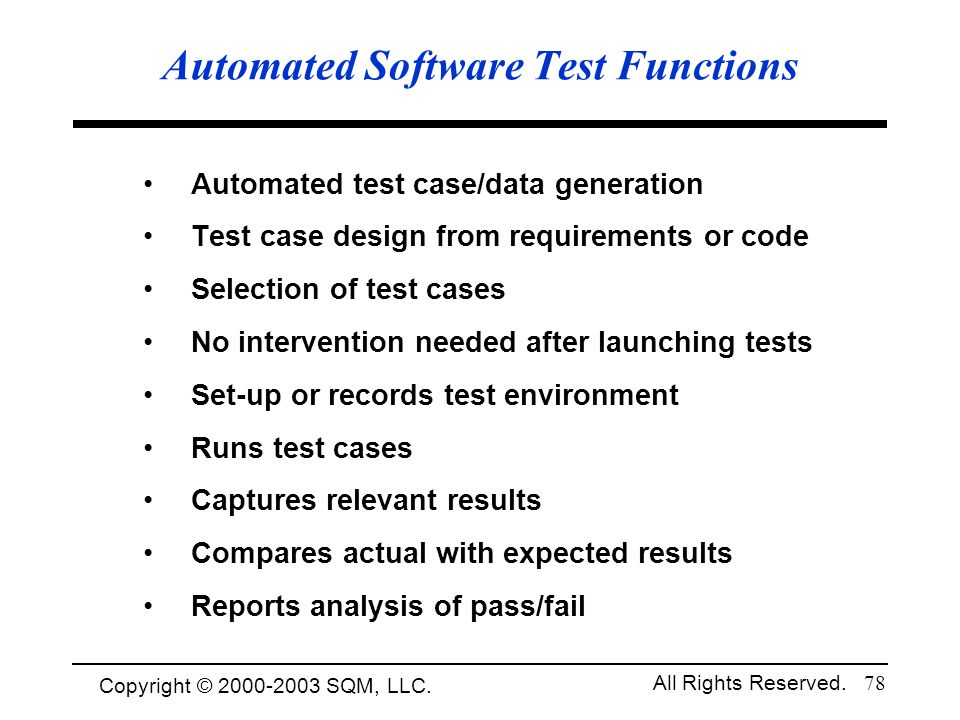 Automated Software Test Functions