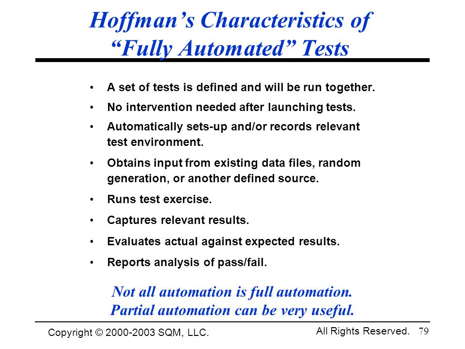Hoffman's Characteristics of Fully Automated Tests