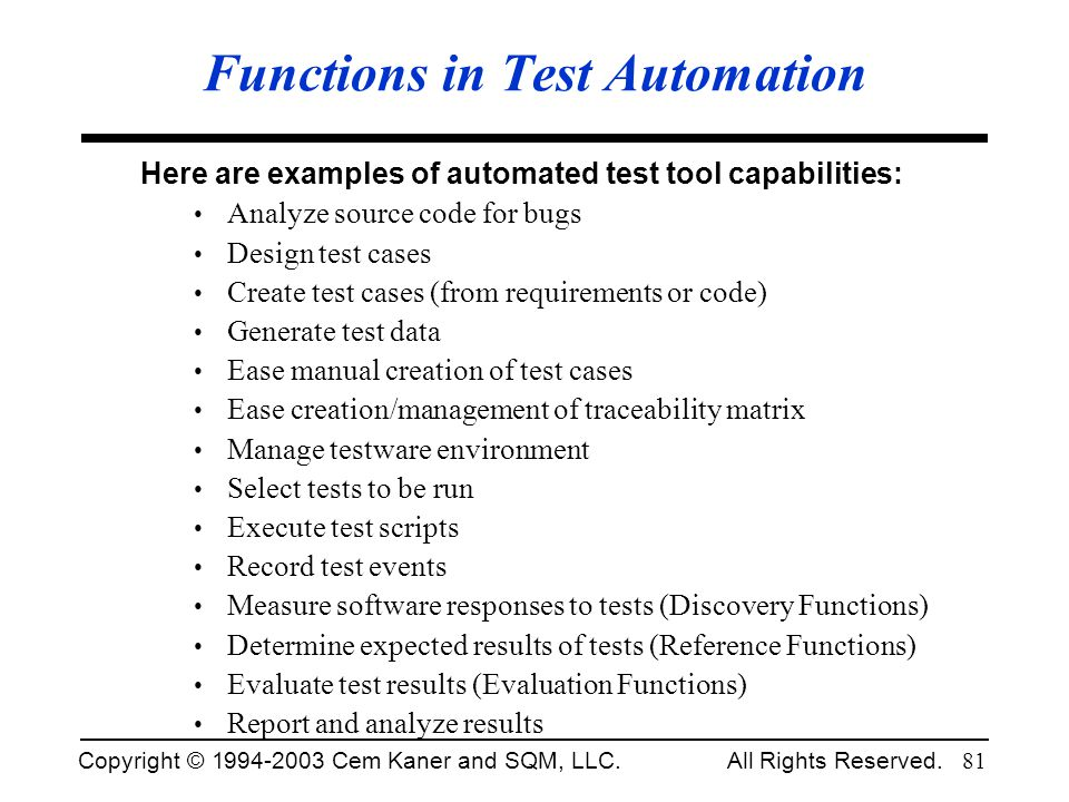 Functions in Test Automation