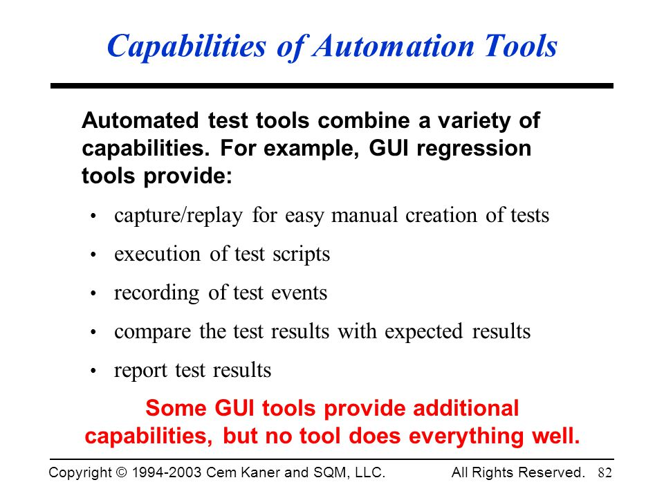 Capabilities of Automation Tools